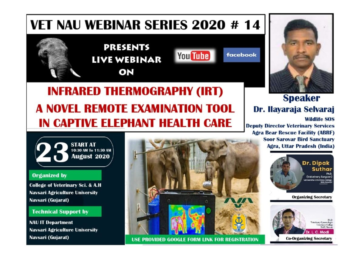 Registration link for Vet NAU Live Webinar #14 on INFRARED THERMOGRAPHY (IRT) A NOVEL REMOTE EXAMINATION TOOL IN CAPTIVE ELEPHANT HEALTH CARE